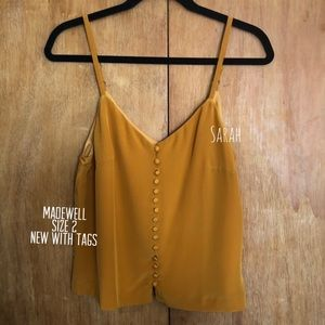 Madewell Silk Button Down Cami in Vintage Gold